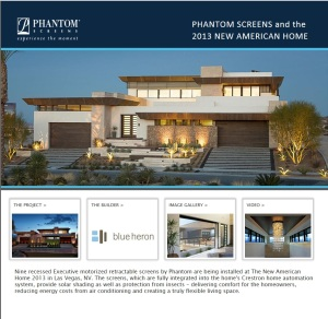 The Phantom Screens New American Home website