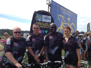The team at the end of their very long ride from Vancouver to Seattle