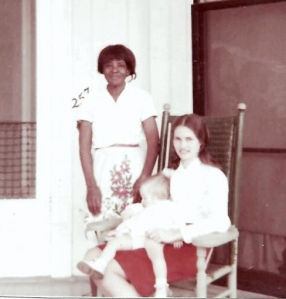 Mary White, the Ford's housekeeper with Mrs. Ford and baby Mena taken in 1969